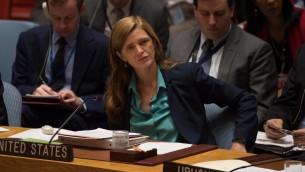 سفيرة الولايات المتحدة للأمم المتحدة سامنثا باور خلال اجتماع طارىء لمجلس الامن حول سوريا، 25 سبتمبر 2016 (BRYAN R. SMITH / AFP)