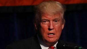 المرشح الجهوري للرئاسة الامريكية دونالد ترامب خلال خطاب عند قبوله ترشيح الحزب الجمهوري في نيويورك، 7 سبتمبر 2016 (Spencer Platt/Getty Images/AFP)