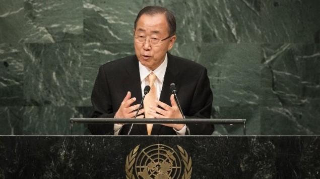 امين عام الامم المتحدة بان كي مون يخاطب الجمعية العامة للأمم المتحدة في نيويورك، 20 سبتمبر 2016 (Drew Angerer/Getty Images/AFP)