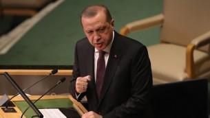 الرئيس التركي رجب طيب اردوغان يخاطب الجمعية العامة للأمم المتحدة في نيويورك، 20 سبتمبر 2016 (Moore/Getty Images/AFP)