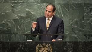 الرئيس المصري عبد الفتاح السيسي يخاطب الجمعية العامة للأمم المتحدة في نيويورك، 20 سبتمبر 2016 (Drew Angerer/Getty Images/AFP)