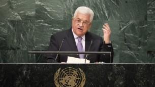 رئيس السلطة الفلسطينية محمود عباس يخاطب الجمعية العامة للأمم المتحدة في نيويورك، 22 سبتمبر 2016 (Drew Angerer/Getty Images/AFP)