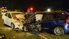 موقع حادث الطرق بين مركبتين بالقرب من مدينة حيفا، 10 سبتمبر، 2016. (نجمة داوود الحمراء)