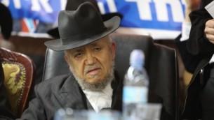 """الحاخام مئير مزوز خلال مؤتمر صحفي لحزب """"ياحاد"""" في بني براك، 25 ديسمبر، 2014. (Yaakov Naumi/Flash90)"""