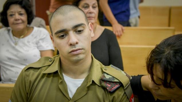 إيلور عزاريا خلال محاكمته في المحكمة العسكرية في يافا، 30 أغسطس، 2016. (Miriam Alster/Flash90)