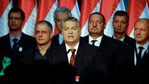 رئيس الوزراء المجري فيكتور اوربان خلال خطاب في بودابست، 2 اكتوبر 2016 (ATTILA KISBENEDEK / AFP)