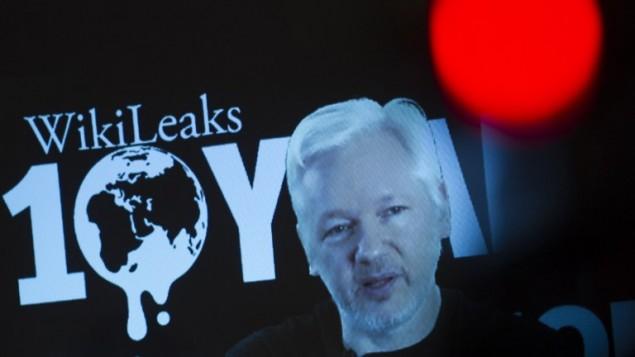مؤسس موقع ويكيليكس جوليان أسانج خلال مؤتمر صحفي عبر الفيديو لمناسبة مرور عشرة أعوام على تأسيس الموقع، 4 اكتوبر 2016 (STEFFI LOOS / AFP)