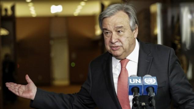 انطونيو غوتيريس خلال حديثه في مقر الامم المتحدة في نيويورك، 13 ابريل 2016 (KENA BETANCUR / AFP)