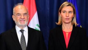 وزير الخارجية العراقي ابراهيم الجعفري خلال مؤتمر صحافي في بروكسل الى جانب وزيرة خارجية الاتحاد الاوروبي فيديريكا موغيريني، 18 اكتوبر 2016 (EMMANUEL DUNAND / AFP)