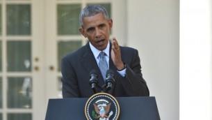 الرئيس الامريكي باراك اوباما خلال مؤتمر صحفي مشترك مع رئيس الوزراء الايطالي متيو رينزي في البيت الابيض، 18 اكتوبر 2016 (NICHOLAS KAMM / AFP)