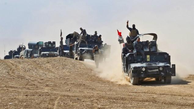القوات العراقية تسيطر على موقع بالقرب من قرية تل طيبة، على بعد حوالي 30 كلم جنوبي الموصل، 19 أكتوبر، 2016. (AFP PHOTO / AHMAD AL-RUBAYE)