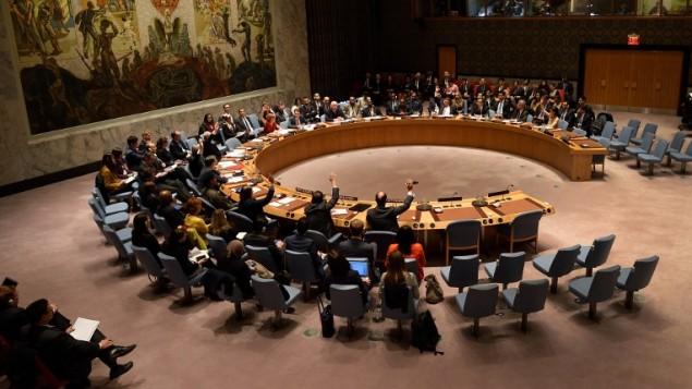 مجلس الأمن الدولي خلال عملية تصويت في مقر الأمم المتحدة في نيويورك، 10 ديسمبر، 2015. (AFP/Don Emmert)