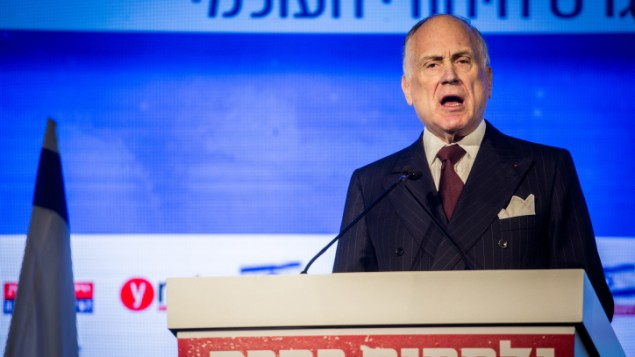 رئيس 'المؤتمر اليهودي العالمي' رون لادور، 28 مارس، 2016. (Hadas Parush/Flash90)