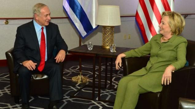 رئيس الوزراء بنيامين نتنياهو يلتقي بالمرشحة الديمقراطية للرئاسة الامريكية هيلاري كلينتون في نيويورك، 25 سبتمبر 2016 (Kobi Gideon/GPO)