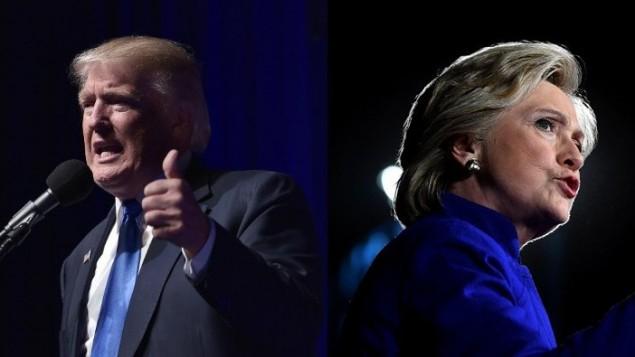 المرشح الجمهوري للرئاسة الامريكية دونالد ترامب والمرشحة الديمقراطية هيلاري كلينتون، 7 نوفمبر 2016 (MANDEL NGAN, JEWEL SAMAD / AFP)