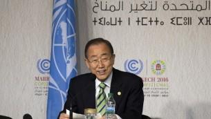 الامين العام للامم المتحدة بان كي مون خلال مؤتمر مراكش للمناخ، 15 نوفمبر 2016 (FADEL SENNA / AFP)