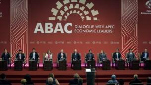 قادة يشاركون في افتتاح قمة أبيك للتعاون الاقتصادي لدول آسيا والمحيط الهادئ في ليما، 19 نوفمبر 2016 (RODRIGO BUENDIA / AFP)