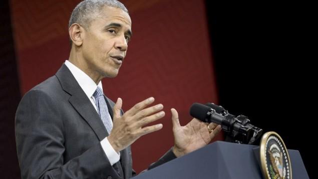 الرئيس الامريكي باراك اوباما خلال مؤتمر صحفي بعد قمة أبيك للتعاون الاقتصادي لدول آسيا والمحيط الهادئ في ليما، 20 نوفمبر 2016 (BRENDAN SMIALOWSKI / AFP)