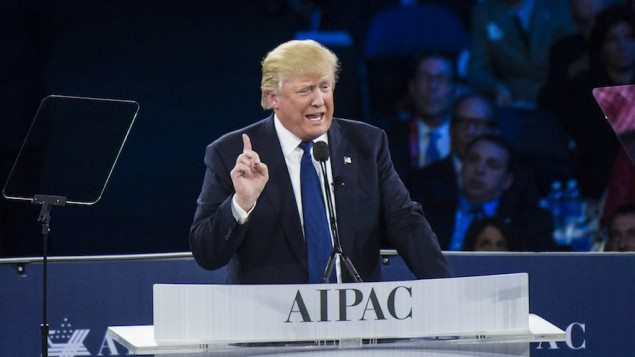 المرشح الجمهوري للرئاسة الامريكية دونالد ترامب يلقي خطاب في مؤتمر إيباك السنوي في واشنطن، 21 مارس 2016 (Jabin Botsford/The Washington Post via Getty Images via JTA)