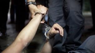 صورة توضيحية لإعتقال شخص. (Matanya Tausig/Flash90)