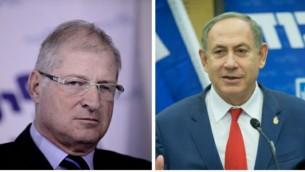 رئيس الوزراء بينيامين نتنياهو، من اليمين، ومحاميه الشخصي دافيد شيمرون، من اليسار. (Flash90)