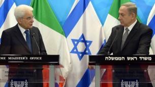 الرئيس الإيطالي سيرجيو ماتاريلا ورئيس الوزراء بنيامين نتيناهو في مكتب رئيس الوزراء في القدس، 2 نوفمبر 2016 (Government Press Office)