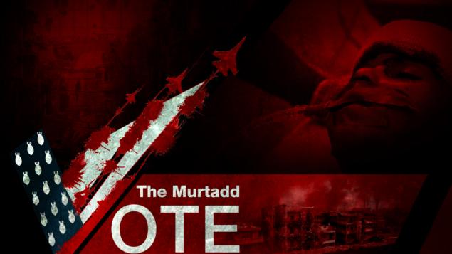 لقطة شاشة لصورة من مقالة لتنظيم 'الدولة الإسلامية' تحت عنوان 'تصويت المرتد'  تم نشرها يوم الجمعة 4 نوفمبر، 2016 .