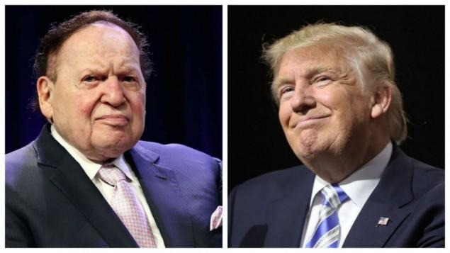 قطب الكازينوهات شيلدون أديلسون، من اليسار، (Steve Mack/Getty Images, via JTA) والمرشح الجمهوري للرئاسة دونالد ترامب، من اليمين (Spencer Platt/Getty Images/AFP)