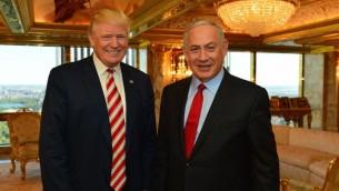 رئيس الوزراء بينيامين نتنياهو والمرشح الجمهوري للرئاسة دونالد ترامب خلال لقاء جمعهما في 'برج ترامب' في نيويورك، 25 سبتمبر، 2016. (Kobi Gideon/GPO)