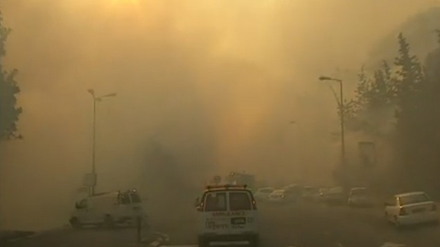 سيارة اسعاف تمر في شوارع حيفا المغطاة في الدخان  بينما يحاول رجال الاطفاء احماد حريق هائل ينتشر في المدينة، 24 نوفمبر 2016 (screen capture: Channel 10)
