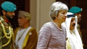 رئيسة الوزراء البريطانية تيريزا ماي خلال قمة مجلس التعاون الخليجي في المنامة، 7 ديسمبر 2016 (STRINGER / AFP)