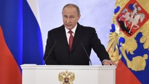 الرئيس الروسي فلايديمير بوتين يقدم خطاب امام مجلسي البرلمان في الكرملين، 1 ديسمبر 2016 (NATALIA KOLESNIKOVA / AFP)