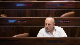 عضو الكنيست من حزب البيت ليهودي نيسان سلوميانسكي خلال تصويت في الكنيست، 7 ديسمبر 2016 (Yonatan Sindel/Flash90)