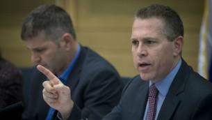 وزير الامن العام جلعاد اردان يشارك في جلسة للجنة في الكنيست، 20 سبتمبر 2016 (Yonatan Sindel/Flash90)