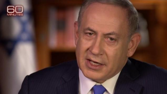 """رئيس الوزراء بنيامين نتنياهو خلال مقابلة على برنامج """"60 دقيقة"""" في قناة سي بي اس، صدرت في 11 ديسمبر 2016 (CBS screenshot)"""
