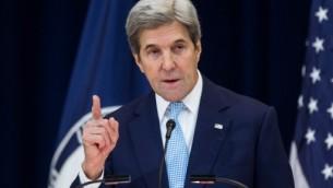 وزير الخارجية الامريكية جون كيري يلقي خطابا حول السلام في الشرق الأوسط  في واشنطن  28 ديسمبر 2016. (Zach Gibson/Getty Images/AFP)