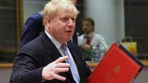 وزير الخارجية البريطاني بوريس جونسون في اجتماع لوزراء خارجية الإتحاد الأوروبي في بروكسل، 16 يناير، 2017. (AFP/Emmanuel Dunand)