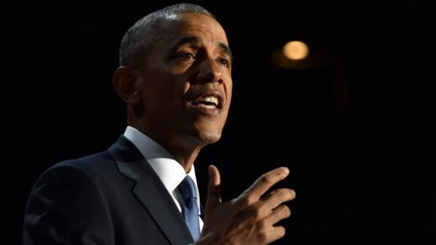 الرئيس الأمريكي باراك أوباما خلال كلمة الوداع التي ألقاها في شيكاغو بولاية إيلينوي، 10 يناير، 2017. (AFP PHOTO / Nicholas Kamm)