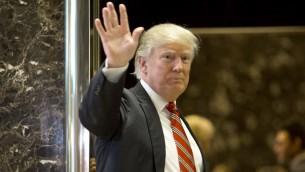 الرئيس الامريكي المنتخب دونالد ترامب في برج ترامب بنيويورك، 16 يناير 2017 (DOMINICK REUTER / AFP)