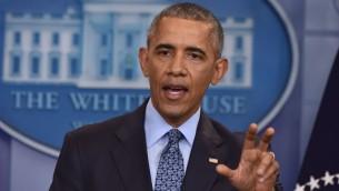 الرئيس الاميركي المنتهية ولايته باراك اوباما في آخر مؤتمر صحافي له في البيت الابيض، 18 يناير 2017 (NICHOLAS KAMM / AFP)