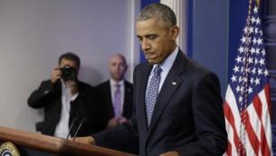 الرئيس الاميركي المنتهية ولايته باراك اوباما في آخر مؤتمر صحافي له في البيت الابيض، 18 يناير 2017 (YURI GRIPAS / AFP)