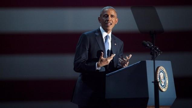 الرئيس باراك أوباما يتحدث أمام مناصريه خلال خطاب الوداع في 'ماكورميك بلايس' في 10 يناير، 2017 في مدينة شيكاغو بولاية إلينوي.  (Darren Hauck/Getty Images/AFP)
