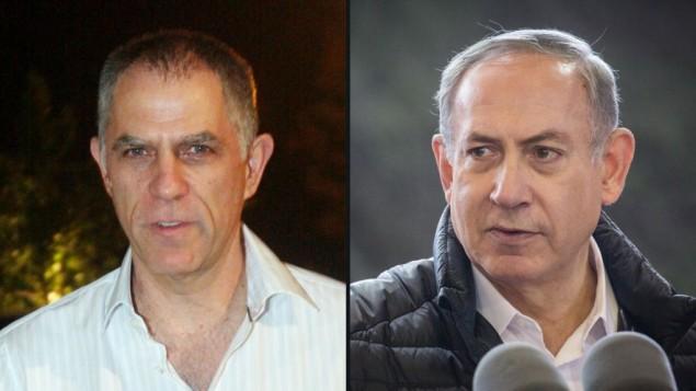 رئيس الوزراء بينيامين نتنياهو (من اليمين) وناشر صحيفة 'يديعوت أحرونوت' أرنون موزيس.(composite image: Flash90)