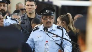 قائد الشرطة روني الشيخ خلال تشييع جثمان الشرطي ايريز ليفي في يافني، 18 يناير 2017 (Flash90)