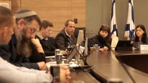 عضو الكنيست كارين الهرار، رئيسة لجنة مراقب الدولة في الكنيست (يمين)، رئيس هيئة الاوراق المالية الإسرائيلية شموئيل هاوزر (الثالث من اليمين) ومشاركين اخرين في جلسة للتعامل مع الاحتيال بالخيارات الثنائية، 2 يناير 2016 (Luke Tress/ Times of Israel)