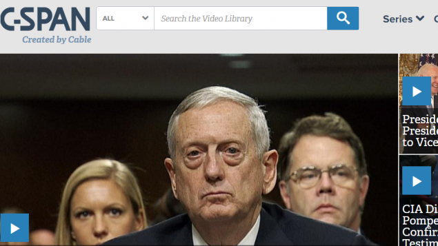صورة شاشة لموقع قناة سي سبان البرلمانية الامريكية (screen capture: C-SPAN)