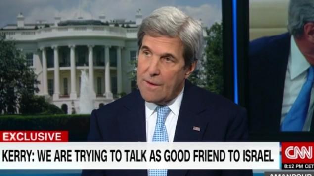 وزير الخارجية الامريكي جون كيري خلال مقابلة على قناة سي ان ان، 16 يناير 2017 (Screenshot/CNN)