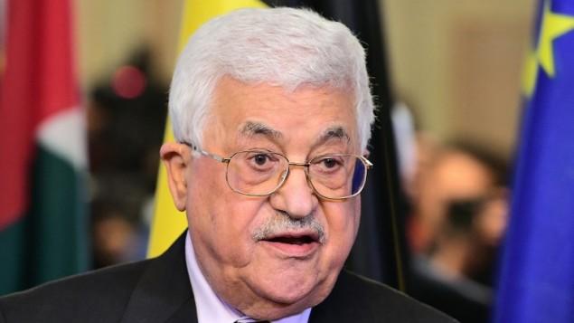 رئيس السلطة الفلسطينية محمود عباس خلال مؤتمر صحفي في برةكسل، 9 فبراير 2017 (AFP/Emmanuel Dunand)