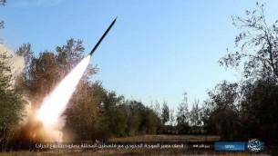 صورة شاشة من فيديو اصدره تنظيم الدولة الإسلامية في 14 ديسمبر 2016 يدعي انه يظهر صاروخ اطلق باتجاه اسرائيل