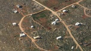 صورة جوية لبؤرة ماعوز استر الاستيطانية غير القانونية في الضفة الغربية (Kobi Gideon/Flash90)